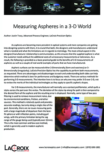 aspheres, measuring aspheres, optical metrology, measuring aspheres in 3d